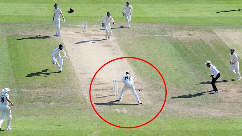 Nathan Lyon, pictured here missing the crucial runout.