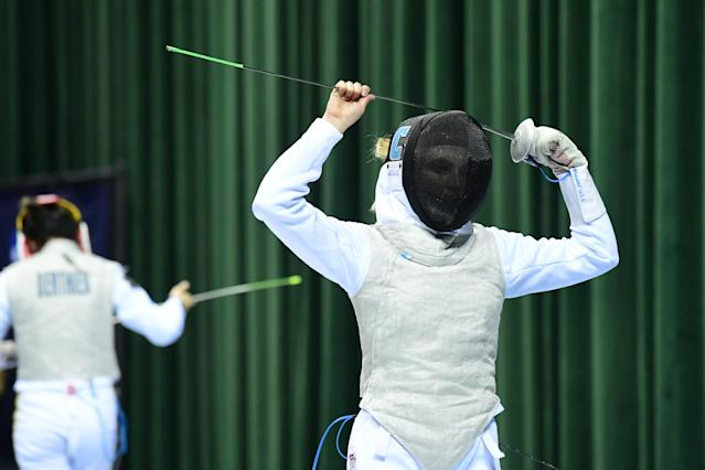 The Columbia fencing team's confrontation of President Donald Trump did not go as planned. (Photo by Jason Miller/NCAA Photos via Getty Images)
