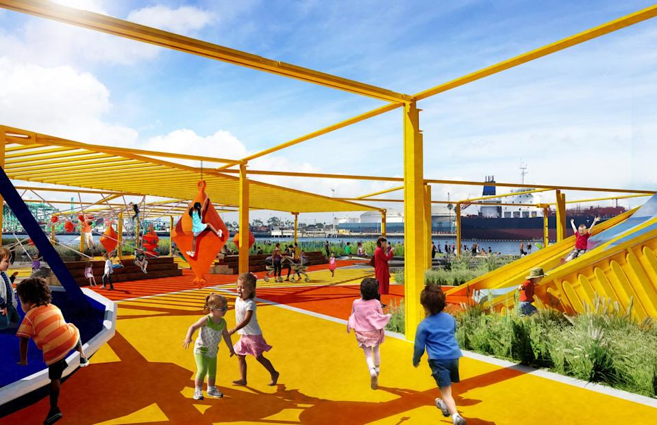 A rendering shows children playing on a playground with the harbor in the background