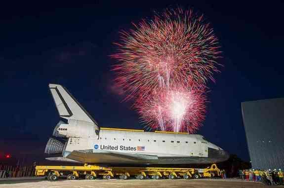 A fireworks display heralds the arrival of space shuttle Atlantis at the Kennedy Space Center Visitor Complex in Florida, Friday, Nov. 2, 2012. <span> See collectSPACE.com for more photos.</span>