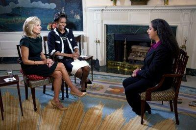 First Lady Michelle Obama and Dr. Jill Biden during an interview with Yahoo! Shine Senior Editor Lylah M. Alphonse in the Diplomatic Room of the White House, Nov. 2, 2011. (Official White House Photo by Lawrence Jackson)
