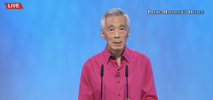 Prime Minister Lee Hsien Loong speaking at the National Day Rally 2021. (PHOTO: Screencap/PMO YouTube)