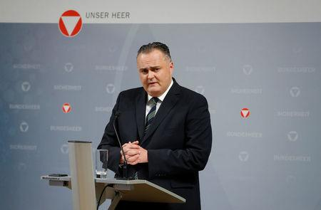 Austria's Defence Minister Doskozil addresses a news conference in Vienna