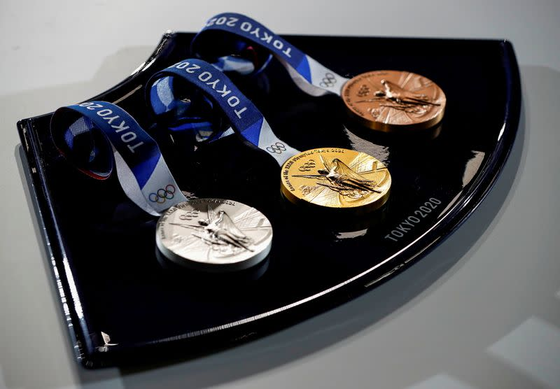 FILE PHOTO: Tokyo 2020 unveils items for victory ceremonies of the Olympic and Paralympic Games in Tokyo