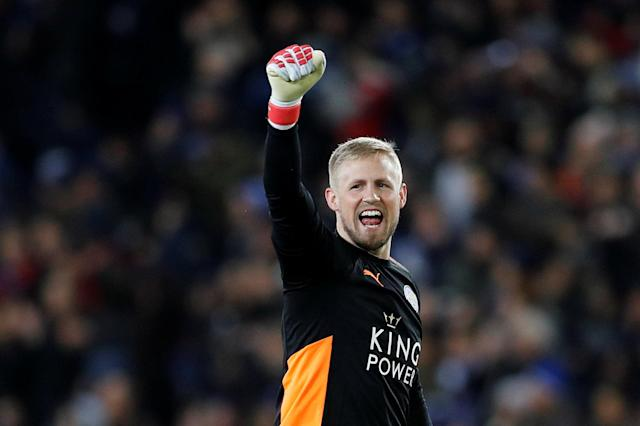 Soccer Football - FA Cup Fifth Round - Leicester City vs Sheffield United - King Power Stadium, Leicester, Britain - February 16, 2018 Leicester City's Kasper Schmeichel celebrates their first goal REUTERS/Darren Staples