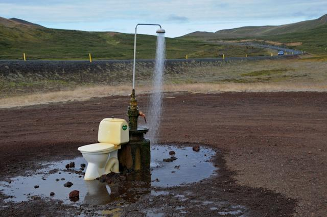 <p>An open-air toilet and a hot spring shower, near Lake Myvatn in northeastern Iceland. (Photo: Mariana Suarez/AFP/Getty Images) </p>