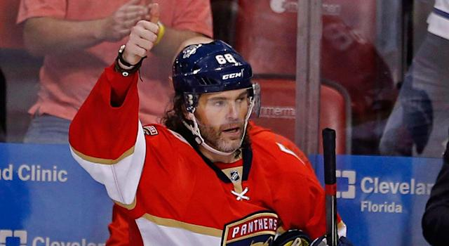 The Calgary Flames will be Jaromir Jagr's ninth NHL team. (Joe Skipper/AP)