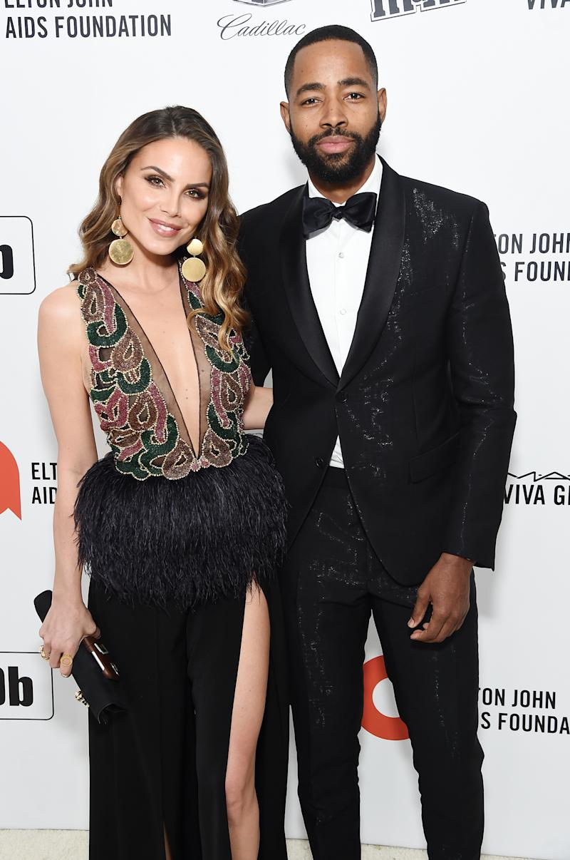 WEST HOLLYWOOD, CALIFORNIA - FEBRUARY 09: Nina Senicar and Jay Ellis attend the 28th Annual Elton John AIDS Foundation Academy Awards Viewing Party sponsored by IMDb, Neuro Drinks and Walmart on February 09, 2020 in West Hollywood, California. (Photo by Jamie McCarthy/Getty Images for EJAF)