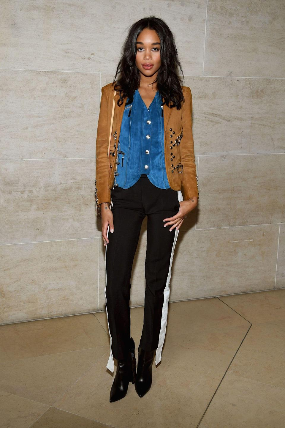 "<p><strong>The Front Row Favorite: Laura Harrier <br></strong> Impossibly gorgeous actress Laura Harrier (just look at that pout and that skin!) recently starred in the <em>Spider-Man</em> reboot. She also happens to be a muse to some of our favorite designers. <a href=""http://www.refinery29.com/2017/02/140405/calvin-klein-raf-simons-fall-2017-america-meaning"" rel=""nofollow noopener"" target=""_blank"" data-ylk=""slk:Raf Simons' Calvin Klein debut"" class=""link rapid-noclick-resp"">Raf Simons' Calvin Klein debut</a> in February 2017 was the first show Harrier ever attended, but fast-forward a few months later and Simons was custom-making her a dress for the <em>Spider-Man: Homecoming</em> premiere. She now works closely with Nicolas Ghesquière at Louis Vuitton, too.</p><span class=""copyright"">Photo: Pascal Le Segretain/Getty Images</span>"