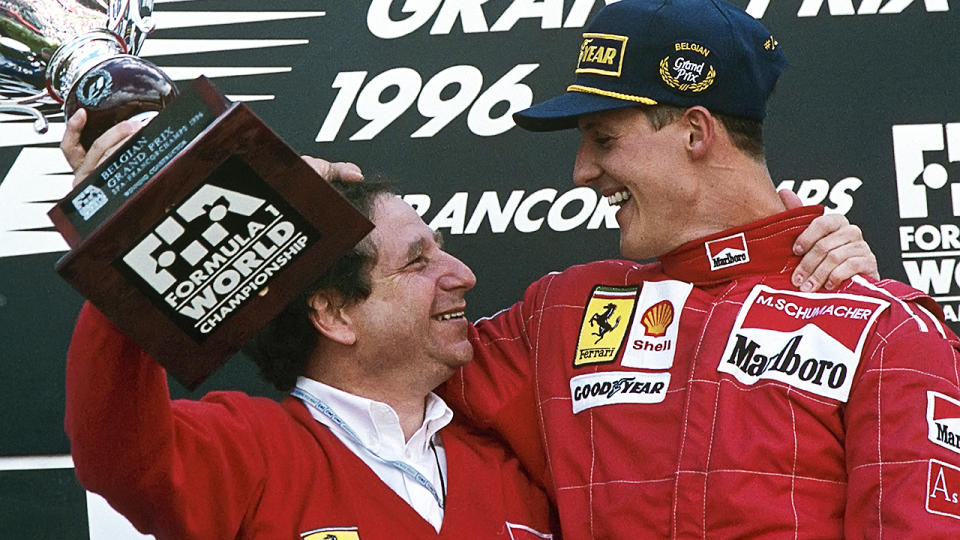 Jean Todt and Michael Schumacher, pictured here at the 1996 Belgian Grand Prix.
