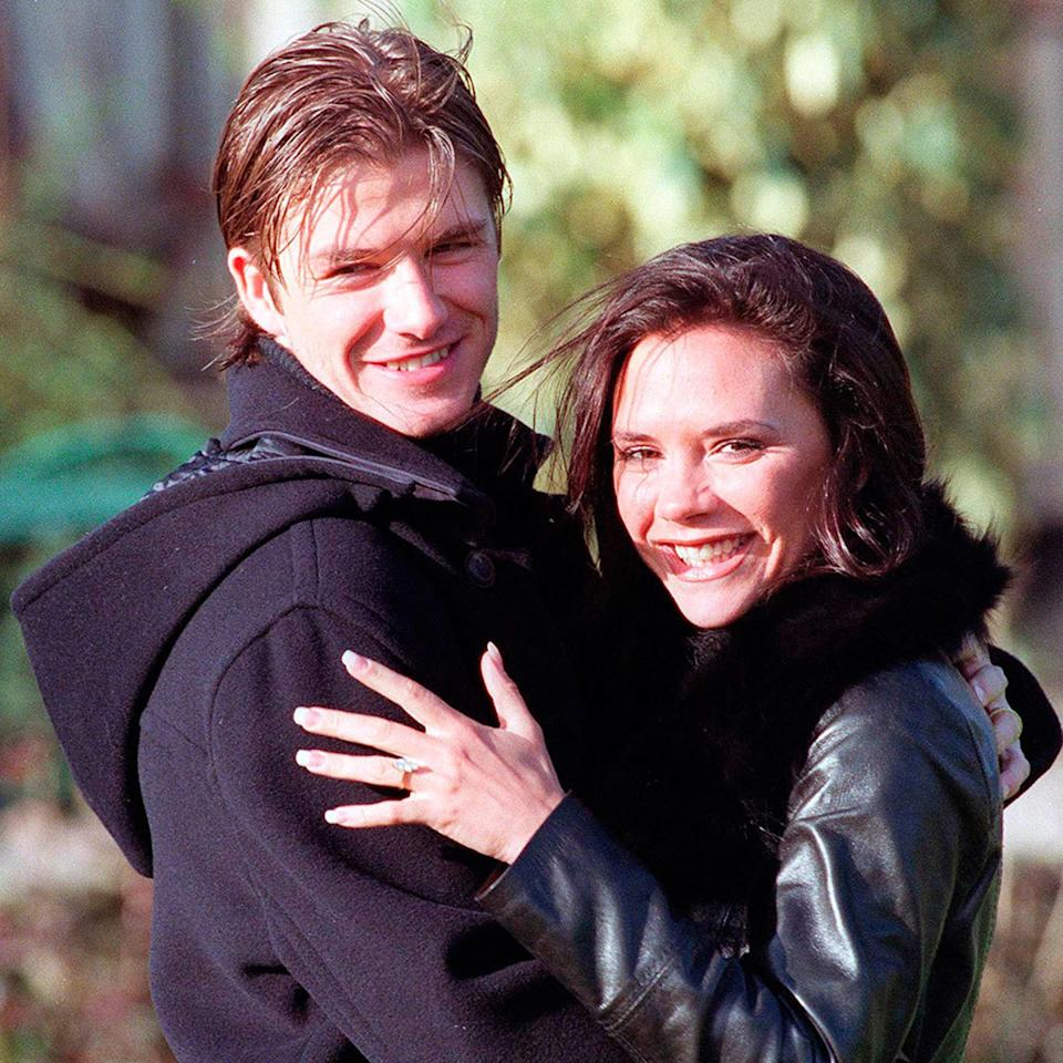 Photo credit: The Beckhams as they announced their engagement. Image: Getty