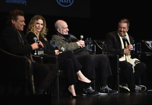 Actor Steven Bauer, actress Michelle Pfeiffer, director Brian De Palma, and actor Al Pacino attend a 35th anniversary screening of <em>Scarface</em>at the Beacon Theatre as part of the 2018 Tribeca Film Festival in New York on April 19. (Photo by Evan Agostini/Invision/AP)