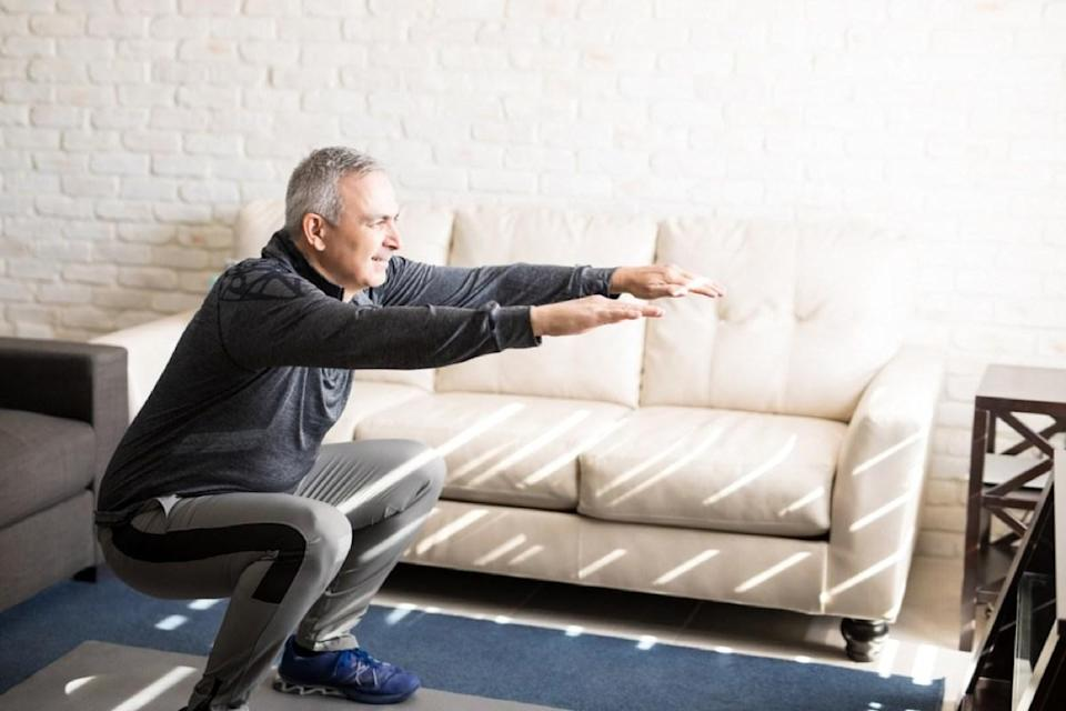 """Though we naturally tend to experience some bone loss in middle age, doing exercises like squats and step-ups can help reduce the associated risk of injury. As a notable 1996 study published in the <em>Journal of Bone and Mineral Research</em> noted, weight-bearing exercises—particularly those that work the lower body—can <a href=""""https://pubmed.ncbi.nlm.nih.gov/8864908/"""" rel=""""nofollow noopener"""" target=""""_blank"""" data-ylk=""""slk:reduce bone density loss"""" class=""""link rapid-noclick-resp"""">reduce bone density loss</a>, strengthen muscles, and may even lower your risk of falls and broken bones."""