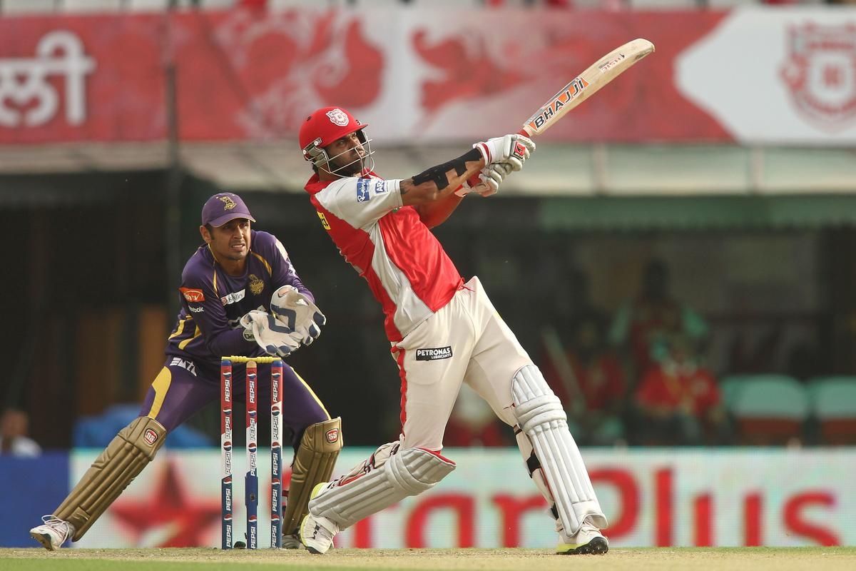 Manpreet Gony of Kings XI Punjab hits a delivery for six during match 20 of the Pepsi Indian Premier League between The Kings XI Punjab and the Kolkata Knight Riders held at the PCA Stadium, Mohal, India  on the 16th April 2013..Photo by Shaun Roy-IPL-SPORTZPICS  ..Use of this image is subject to the terms and conditions as outlined by the BCCI. These terms can be found by following this link:..https://ec.yimg.com/ec?url=http%3a%2f%2fwww.sportzpics.co.za%2fimage%2fI0000SoRagM2cIEc&t=1498282584&sig=DEUki.bgAeHZ8OI1czkC9g--~C