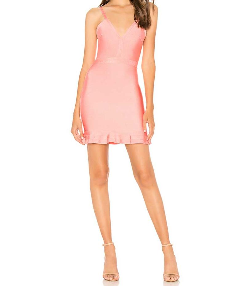 Pink v-neck dress. (Photo: About Us/Revolve)