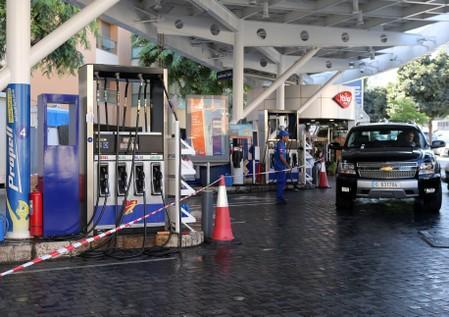 FILE PHOTO: A gas station closes during a protest against tight supply of dollars in Beirut