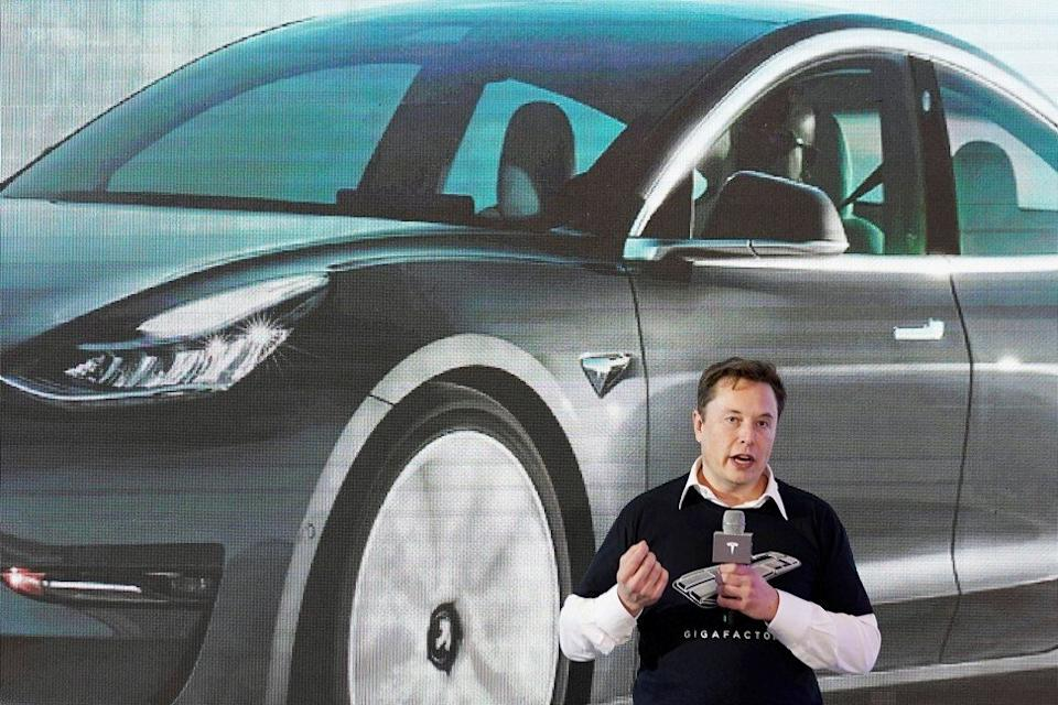 Tesla's chief executive Elon Musk speaking onstage during a delivery event for the carmaker's China-made Model 3 in Shanghai on January 7, 2020. Photo: Reuters
