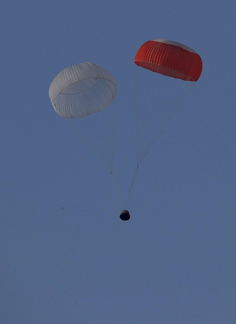 The Crew capsule descends under parachutes on 5 July 2018 after the abort motor lifted it to an altitude of 8,200 feet.  Image credit: By Indian Space Research Organisation (GODL-India), GODL-India, https://commons.wikimedia.org/w/index.php?curid=70567614