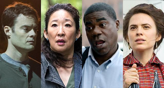 Bill Hader in <em>Barry</em>, Sandra Oh in <em>Killing Eve</em>, Tracy Morgan in <em>The Last O.G.</em>, and Hayley Atwell in <em>Howards End</em>. (Photo: HBO, BBC America, Turner, Starz)