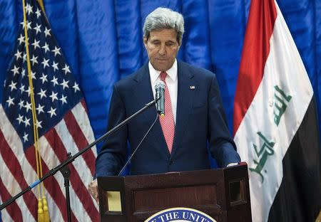 U.S. Secretary of State John Kerry pauses during a news conference at the U.S. Embassy in Baghdad September 10, 2014. REUTERS/Brendan Smialowski/Pool