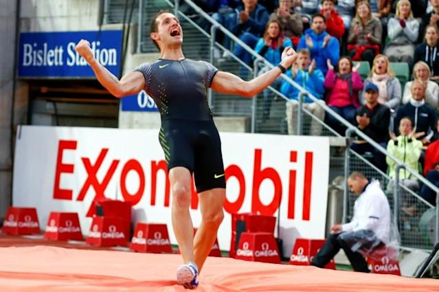 Feet on the ground: Renaud Lavillenie plans to compete in the Oslo Diamond League meeting, where he won in 2016, but without leaving France (AFP Photo/Heiko Junge)