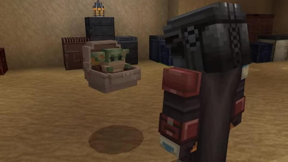 The Mandalorian and Baby Yoda in Minecraft