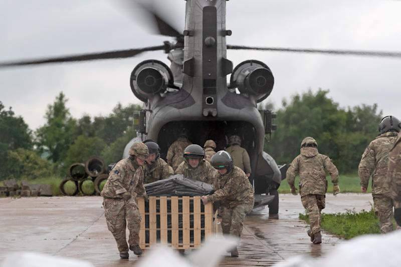 An RAF Chinook was deployed in Wainfleet All Saints, Lincolnshire, where more than two months of rain in just two days. (PA)