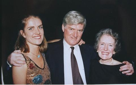 Mary Parkinson with her parents, Cecil and Ann, in 1997 - Credit: REX/Shutterstock