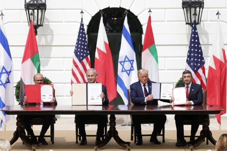 The UAE and Bahrain signed the 'Abraham Accords' with Israel at the White House last year (AFP/ALEX WONG)