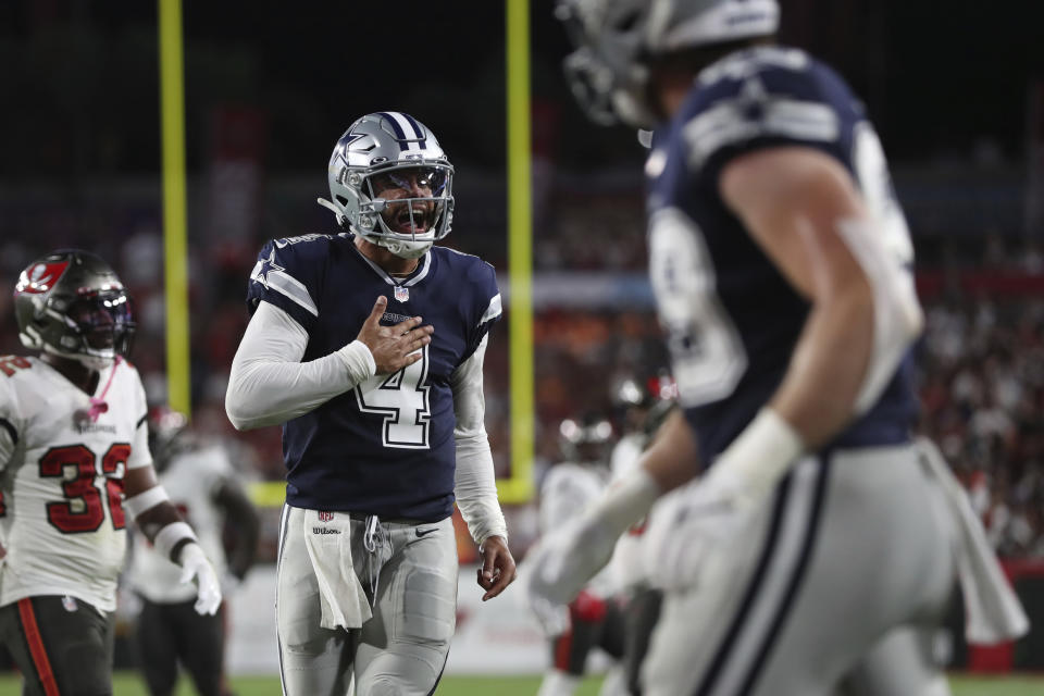 The scoreboard said Dallas lost to Tampa Bay on Thursday. But the excellent performance from Dak Prescott (4) was what mattered most for the Cowboys. (AP Photo/Mark LoMoglio)