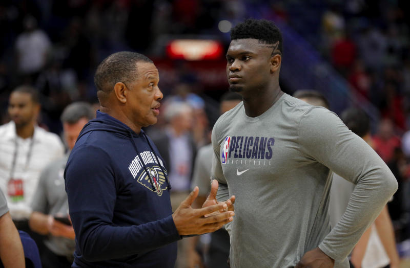 Oct 5, 2019; New Orleans, LA, USA; New Orleans Pelicans head coach Alvin Gentry talks with forward Zion Williamson (1) during a open practice at the Smoothie King Center. Mandatory Credit: Derick E. Hingle-USA TODAY Sports