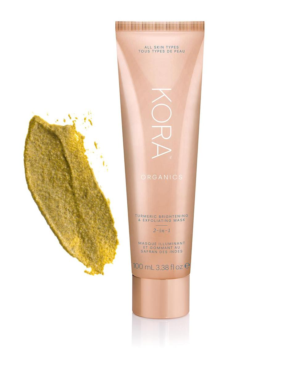 """<p>""""This physical exfoliant <em>and</em> a deeply detoxifying mask is like a facial in a tube. The rose hip seeds combined with the aspen bark and papaya enzymes deeply exfoliate your skin while the turmeric brightens and helps with dark spots and pigmentation. Plus: the peppermint aromatherapy is so invigorating. This product is like nothing like I've ever tried before — I'm obsessed!""""</p> <p><strong>Buy It!</strong> KORA Organics Turmeric 2-in-1 Brightening and Exfoliating Mask, $48; <a href=""""https://us.koraorganics.com/products/turmeric-brightening-exfoliating-mask"""" rel=""""sponsored noopener"""" target=""""_blank"""" data-ylk=""""slk:us.koraorganics.com"""" class=""""link rapid-noclick-resp"""">us.koraorganics.com</a></p>"""