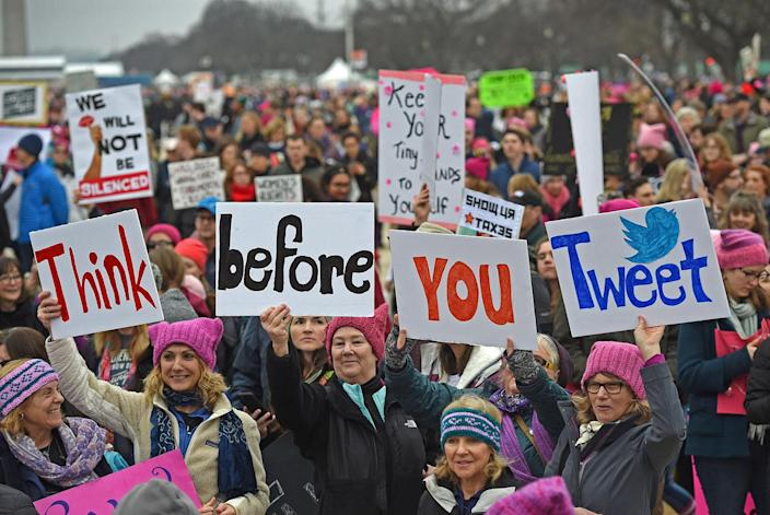 <p>Demonstrators protest on the National Mall in Washington, DC, for the Women's March on January 21, 2017. (ANDREW CABALLERO-REYNOLDS/AFP/Getty Images) </p>