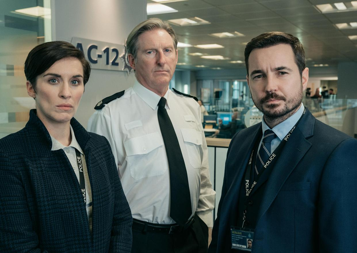 Kate Fleming (Vicky McClure), Ted Hastings (Adrian Dunbar) and Steve Arnott (Martin Compston) led the AC-12 investigative team. (BBC)
