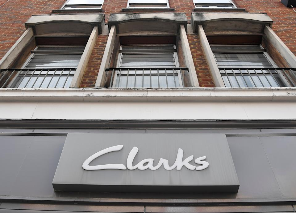 A Clarks shoe shop is seen in west London