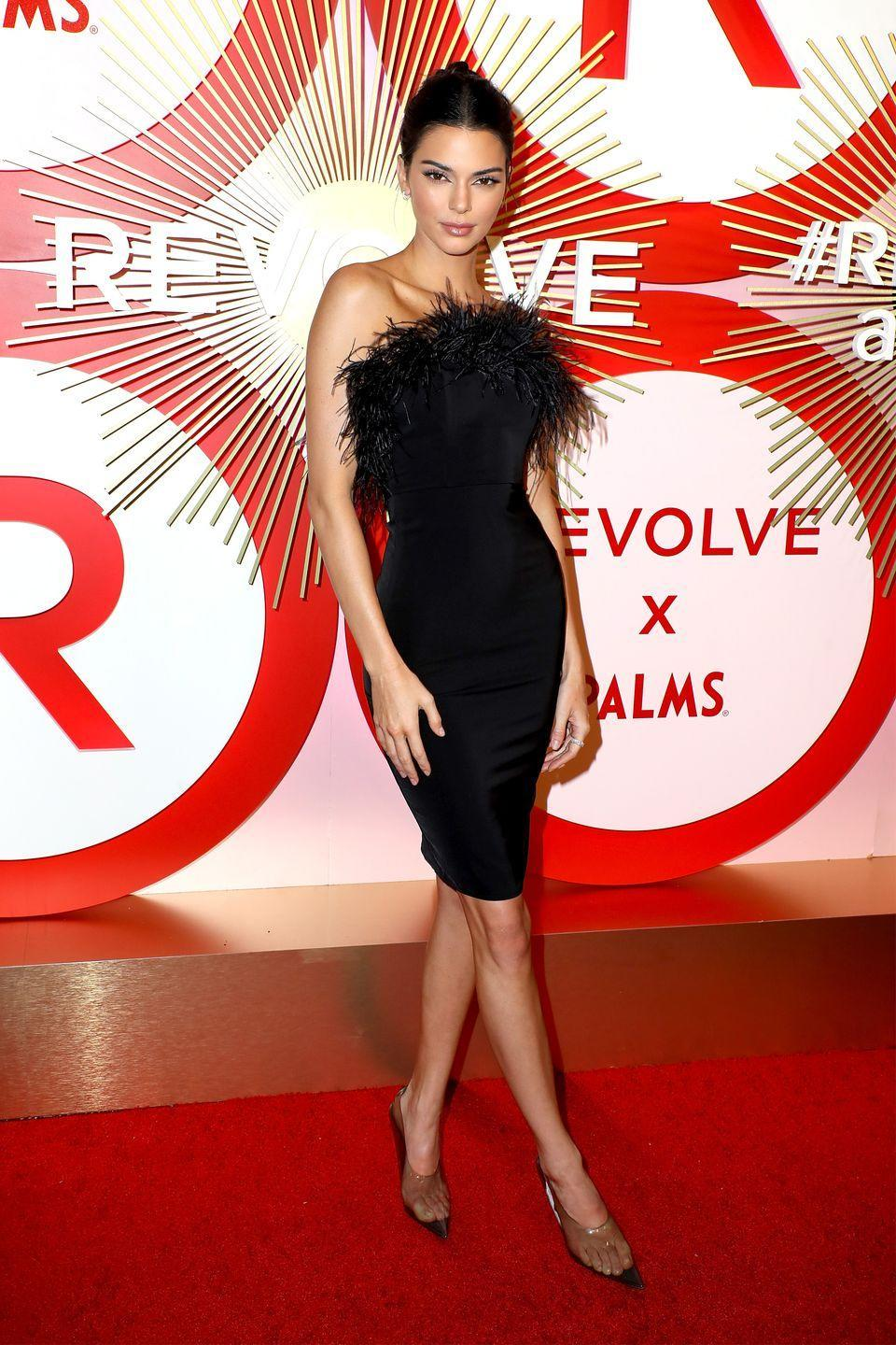 <p>She wore the brand's Aurora dress with Yeezy heels to the second annual event in Las Vegas, November 2018.</p>