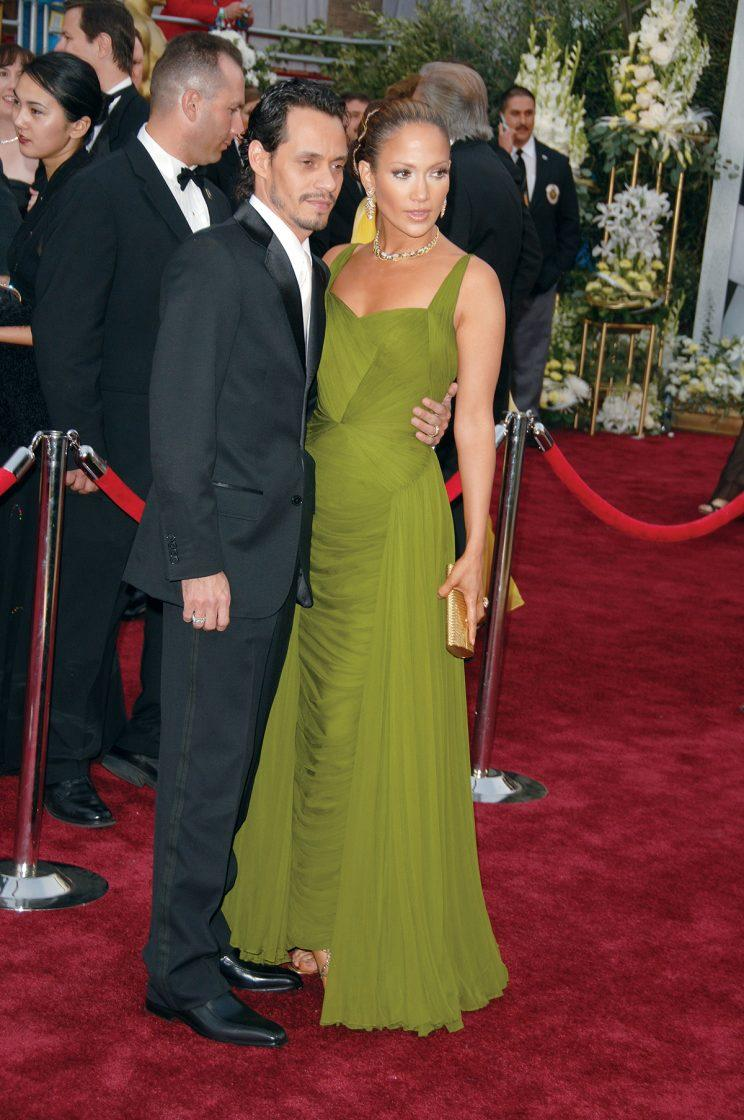 Actress Jennifer Lopez and actor Marc Anthony arrive at the 2006 Academy Awards. (Photo: Getty Images)