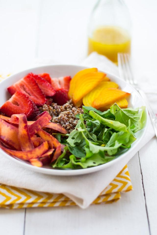 """<p>A rainbow in a bowl, this <a href=""""http://littleferrarokitchen.com/2014/03/rainbow-quinoa-salad-honey-citrus-vinaigrette/"""" target=""""_blank"""" class=""""ga-track"""" data-ga-category=""""Related"""" data-ga-label=""""http://littleferrarokitchen.com/2014/03/rainbow-quinoa-salad-honey-citrus-vinaigrette/"""" data-ga-action=""""In-Line Links"""">citrus quinoa dish</a> incorporates plenty of fresh produce. Prepare to make your co-workers jealous when you bust this out at lunch.</p>"""