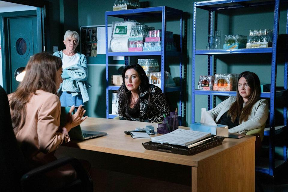 <p>She confronts the Slaters and explains that Kush has a gambling addiction.</p>