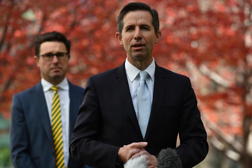 Agriculture minister David Littleproud and trade minister Simon Birmingham during a press conference at Parliament House.