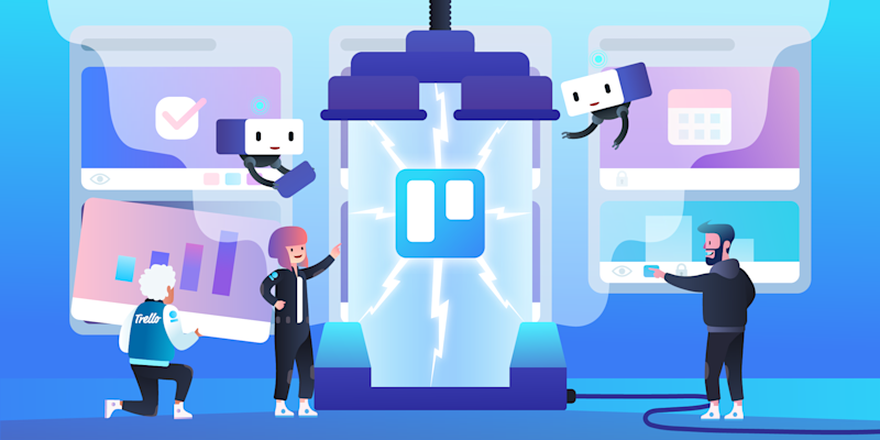 A cartoon of Trello (a platform owned by Atlassian) employees and the Trello logo
