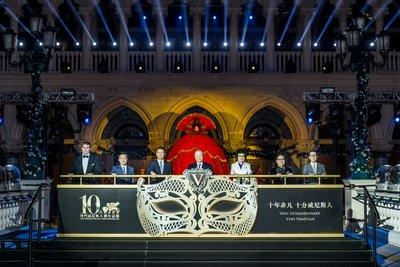 Guests of honour officiate the 10th anniversary celebration for The Venetian Macao Monday at the integrated resort's outdoor lagoon. Left to right: Patrick Dumont, executive vice president and chief financial officer of Las Vegas Sands Corp.; Alexis Tam Chon Weng, secretary for Social Affairs and Culture of the Macao Special Administrative Region; Yao Jian, vice director of the Liaison Office of the Central People's Government in the Macao Special Administrative Region; Edmund Ho, vice chairman of the National Committee of the Chinese People's Political Consultative Conference; Wang Dong, deputy commissioner of the Office of the Commissioner of the Ministry of Foreign Affairs of the People's Republic of China in the Macao Special Administrative Region; Dr. Wilfred Wong, president of Sands China Ltd.; Paulo Martins Chan, director of the Gaming Inspection and Coordination Bureau of the Macao Special Administrative Region