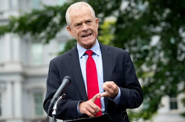 White House trade advisor Peter Navarro, pictured in June 2020, alleges the apps funnel data to China (AFP Photo/SAUL LOEB)