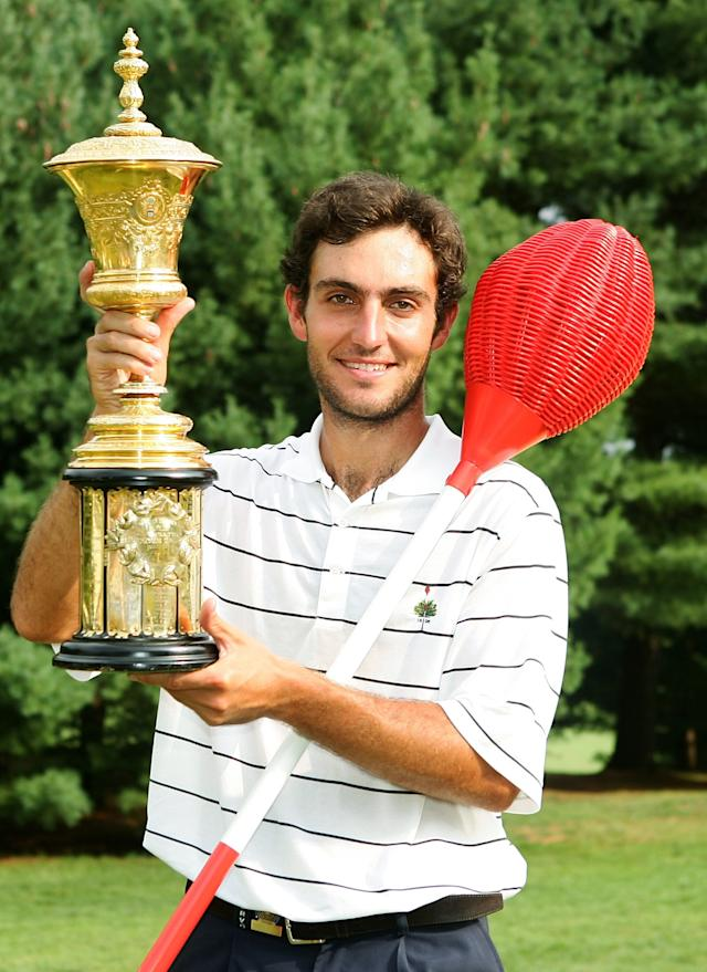 """<h1 class=""""title"""">2005 U.S. Amateur Championship Final</h1> <div class=""""caption""""> Edoardo Molinari of Italy poses with the Havemeyer Trophy and a Merion wicker basket after defeating Dillon Dougherty 4&amp;3 during their championship match at the 2005 U.S. Amateur at Merion. </div> <cite class=""""credit"""">Scott Halleran</cite>"""