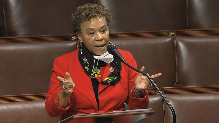 In this April 23, 2020, file image from video, Rep. Barbara Lee, D-Calif., speaks on the floor of the House of Representatives at the U.S. Capitol in Washington.