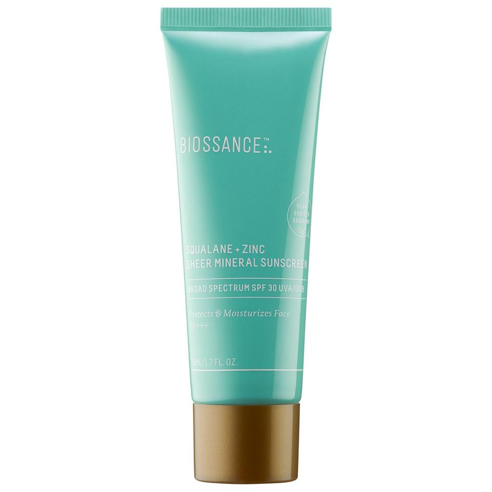 """<p><strong>Biossance</strong></p><p>sephora.com</p><p><strong>$30.00</strong></p><p><a href=""""https://go.redirectingat.com?id=74968X1596630&url=https%3A%2F%2Fwww.sephora.com%2Fproduct%2Fbiossance-squalane-zinc-sheer-mineral-sunscreen-spf-30-pa-P456410&sref=https%3A%2F%2Fwww.goodhousekeeping.com%2Fbeauty%2Fanti-aging%2Fg36098250%2Fbest-sunscreens-for-dark-skin%2F"""" rel=""""nofollow noopener"""" target=""""_blank"""" data-ylk=""""slk:Shop Now"""" class=""""link rapid-noclick-resp"""">Shop Now</a></p><p>Biossance's super sheer formula proves that sunscreen can be both hydrating and invisible. Dr. Libby says this SPF is one of her go-to picks because it's super lightweight and <strong>softens skin thanks to <a href=""""https://www.goodhousekeeping.com/uk/beauty/skincare/a33320768/squalane/"""" rel=""""nofollow noopener"""" target=""""_blank"""" data-ylk=""""slk:squalane"""" class=""""link rapid-noclick-resp"""">squalane</a> without feeling greasy</strong>, making it a must for <a href=""""https://www.goodhousekeeping.com/beauty/anti-aging/a29993947/dry-skin-on-face-treatments-causes/"""" rel=""""nofollow noopener"""" target=""""_blank"""" data-ylk=""""slk:dry skin types"""" class=""""link rapid-noclick-resp"""">dry skin types</a>.</p>"""