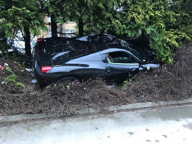 The Ferrari hit two bollards before ended up in a bush (SWNS)