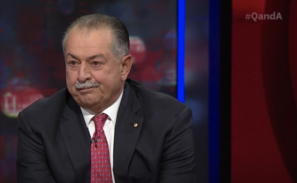 Andrew Liveris appearing on the ABC program Q and A.