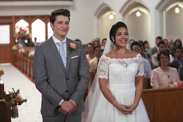 <p>When Jane Villanueva marries Michael Cordero in season 2, she opts for (likely) an Alba-approved modest white dress with lace detailing. And of course, the Villanueva women all walk down the aisle together. </p>