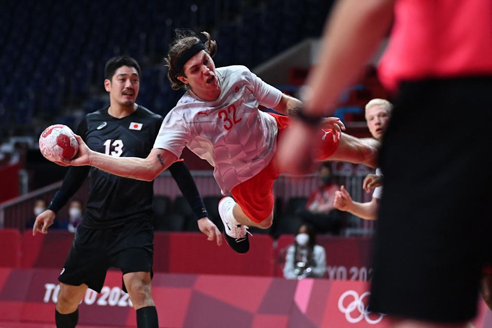 Jacob Holm (32) and Denmark won the men's handball gold medal in 2016, and they're in the semifinals in Tokyo. Perhaps they can explain why the United States stinks at this sport. (Photo by DANIEL LEAL-OLIVAS/AFP via Getty Images)